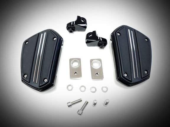 Goldwing Goldstrike Twin Rail Driver Floorboards - Black